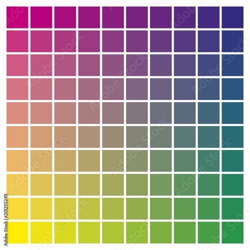 Color Chart Magenta Yellow Cyan Print Production Color Guide Tints