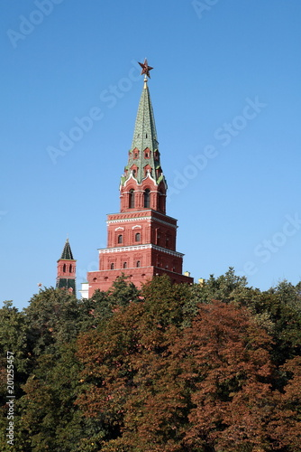 Fotobehang Moskou Kremlin tower on sky background