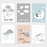 Set of night cards with cute cartoon animals, stars and moon. Posters for baby rooms. Sweet dreams vector illustrations.