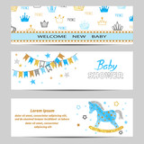 Baby Shower boy banners vector set in blue and golden colors.