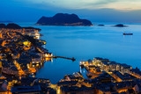 Beautiful Alesund port town at night in Norway - 201265636