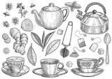 Collection of tea illustration, drawing, engraving, ink, line art, vector - 201266260