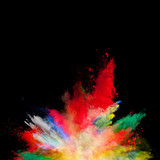 Abstract colored powder explosion isolated on black background. - 201267252