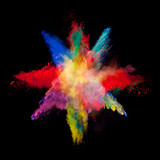 Abstract colored powder explosion isolated on black background. - 201267264