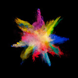 Abstract colored powder explosion isolated on black background. - 201267268