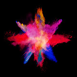 Abstract colored powder explosion isolated on black background. - 201267288