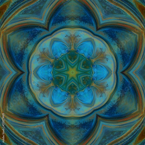 Abstract blue and orange watercolor texture background. Oil painting style. Geometric design artwork. - 201279601