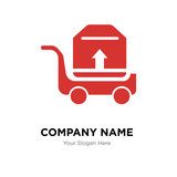 Package transportation on a trolley company logo design template - 201283046