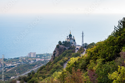 FOROS, CRIMEA - SEP. 2014: Church of the Resurrection of Christ on the Red Rock, Foros