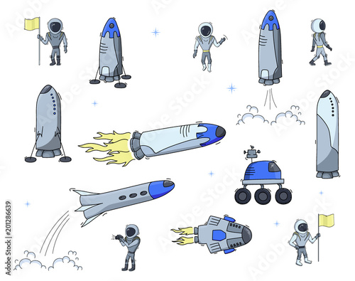 Fototapeta Set of vector illustrations of space objects