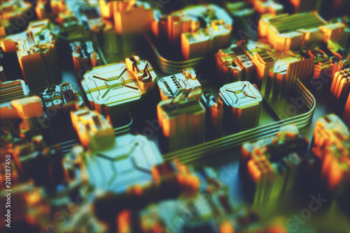 3D illustration. Abstract 3D structure for use as background in technological theme.