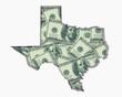 Texas TX Money Map Cash Economy Dollars 3d Illustration