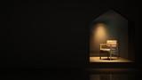 Furniture shop 3d rendering black background - Triangle space minimal japanese - 201294200