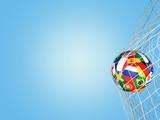 soccer ball flags goal net 3d rendering - 201294487