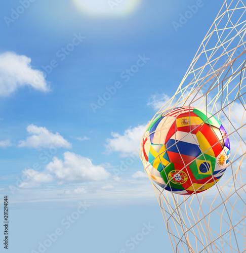 Fotobehang Bol soccer ball flags goal net 3d rendering