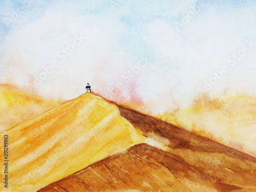 watercolor landscape desert with the man stand alone in sandstorm. hand drawn. © atichat
