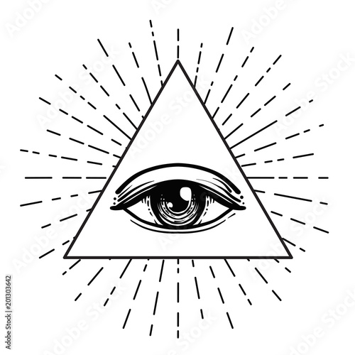 Tattoo Flash Eye Of Providence Masonic Symbol All Seeing Eye