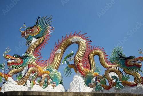 Dragon sculpture in Public park at Nakhonsawan, Thailand. (Utayan Sawan)