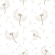 Seamless pattern with soaring dandelions