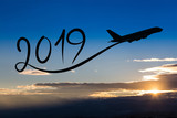New year 2019 by flying airplane on the air at sunrise