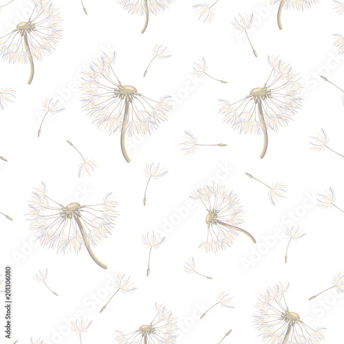 Seamless pattern with soaring dandelions - 201306080