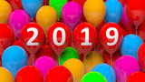 New year 2019 on colorful balloons background. 3d illustration