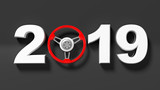 New year 2019 with red car's steering wheel isolated on black background. 3d illustration