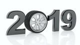 New year 2019 with car's wheel isolated on white background. 3d illustration