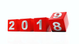 New year 2019, year turn. Digits on red cubes isolated on white background. 3d illustration