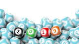 New year 2019 on bingo balls. Bingo lottery balls heap on white background, copy space. 3d illustration