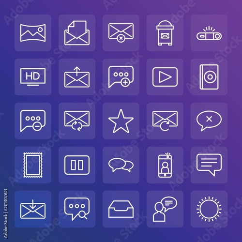 Canvas Snoeien Modern Simple Set of chat and messenger, video, photos, email Vector outline Icons. ..Contains such Icons as message, text, open, exit and more on gradient background. Fully Editable. Pixel Perfect.