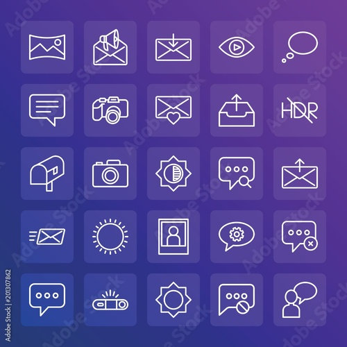 Plexiglas Snoeien Modern Simple Set of chat and messenger, video, photos, email Vector outline Icons. ..Contains such Icons as exit, text, landscape and more on gradient background. Fully Editable. Pixel Perfect.