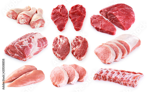 Collection of meat. Beef, pork, chicken. Different parts of meat. - 201308858