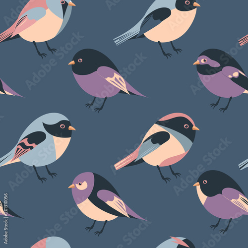 Cotton fabric cartoon feathered and winged birds seamless background
