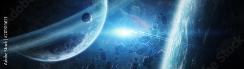Canvas Heelal Panoramic view of planets in distant solar system 3D rendering elements of this image furnished by NASA