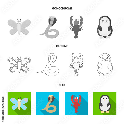 An unrealistic flat,outline,monochrome animal icons in set collection for design. Toy animals vector symbol stock web illustration.
