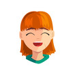 Happy smiling redhead girl, female emotional face, avatar with facial expression vector Illustration on a white background