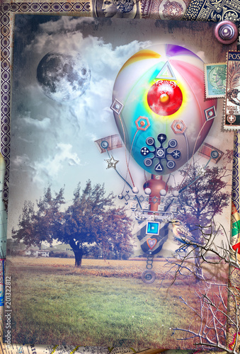 Canvas Imagination Cartolina vintage con mongolfiera steampunk