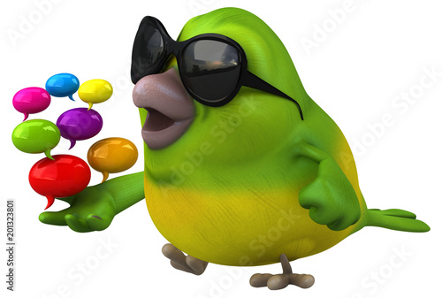 Fun green bird - 3D Illustration