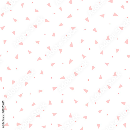 obraz lub plakat Repeating pink triangles and round dots on white background. Cute geometric seamless pattern. Endless girlish print.
