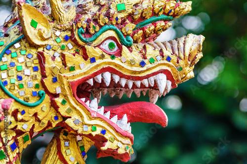 Colorful dragon head sculpture close-up