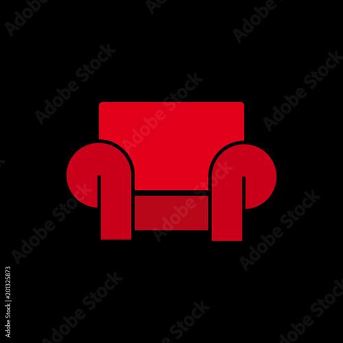 Vector logo, abstract modern armchair on black background