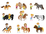 Funny little kids riding ponies and taking care of their horses set, equestrian sport, vector Illustrations