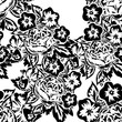 seamless monochrome pattern of flowers for greeting cards, background, price tags - 201326683