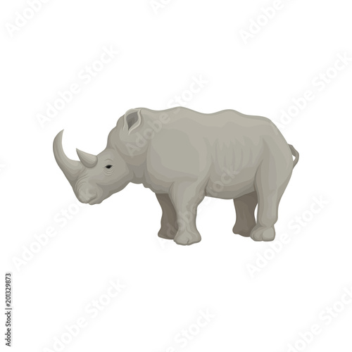 Rhinoceros wild animal, side view vector Illustration on a white background