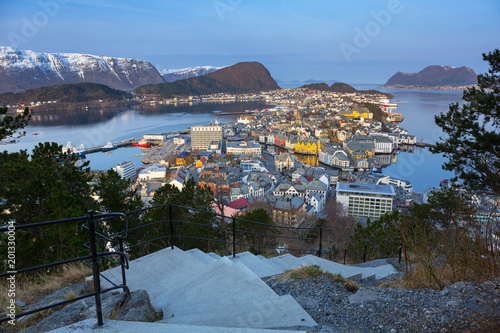 View point for Alesund town in Norway at dawn