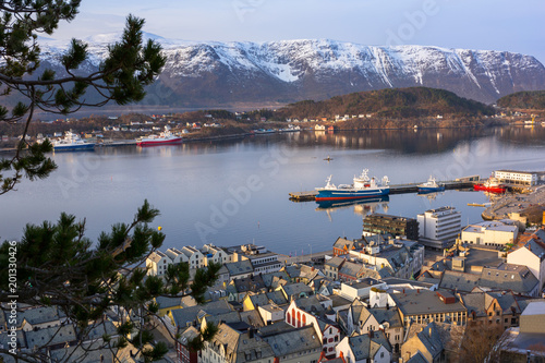 Beautiful Alesund town in Norway at dawn
