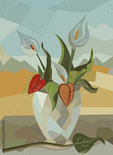 abstract colorful background ,flower vase, white calla lilies - 201333403