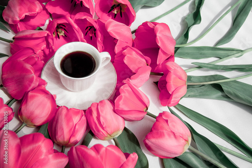 bouquet of tulips and cup of coffee - 201333805
