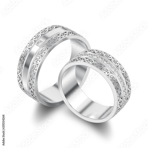 Ilration Isolated Two Silver Decorative Wedding Bands Carved Out Rings With Ornament Shadow
